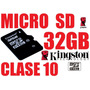 Micro Sd 32gb Clase 10 Kingston + Adaptador Sd, Sdhc, Nueva!