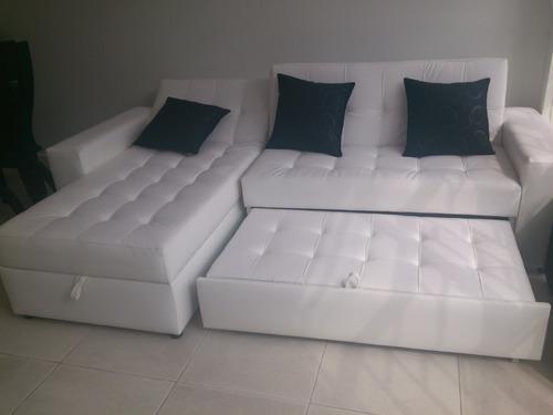 Sala moderna sofa cama con baul puff y mesa envio gratis for Salas con sofa cama