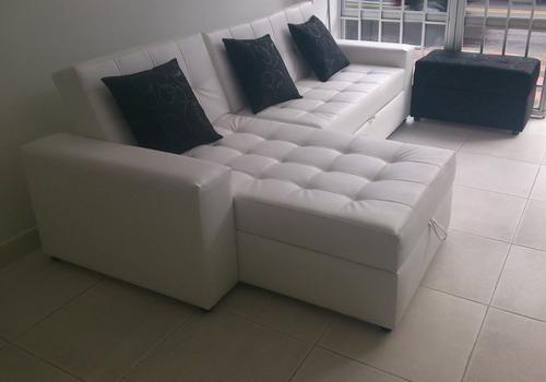Sala moderna sofa cama con baul puff y mesa envio gratis for Envio de muebles
