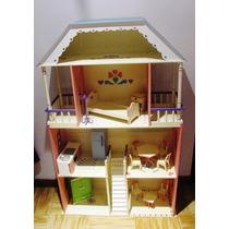 Casa Muñecas Barbie Juguete Madera Decoracion 3pisos Pintada