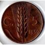 Moneda 5 Centecimos De Lira Italia 1936 Buena Condición