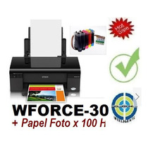 Epson Sublima Workforce 30+cis 5color+100h Papel Fotografia*