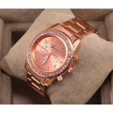 Reloj Dama Con Brillantes Geneva Metálico Dorado,rosa,plata