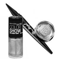 Maybelline Kit Glamour Plata (esmalte + Sombra + Delineador)