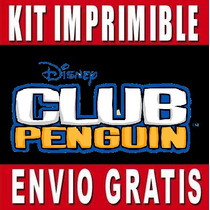 Kit Imprimible Club Penguin Diseña Invitaciones Y Tarjetas