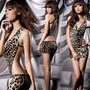 Sexy Vestido Animal Print Color Leopardo Cuello V Baby Doll