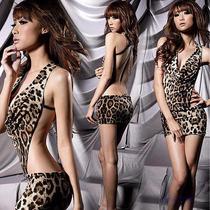 Sexy Vestido Animal Print Color Leopardo Cuello V Baby Doll