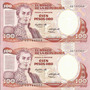 Colombia Dúo Números Consecutivos 100 Pesos 12 Octubre 1984