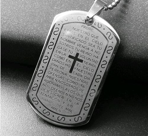 8224b8a84c4f Placa Collar Dije Padre Nuestro Acero Cadena Acero