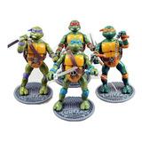 Set De 4 Tortugas Ninja Articuladas Con Base + Obsequio
