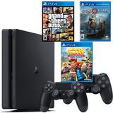 Playstation 4 + 2 Controles+ Gta V +crash Car + God Of War4