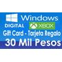 30 Mil Pesos Tarjeta Regalo Gift Card Tienda Windows Xbox $