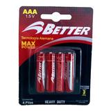 Pilas Better Aaa 1.5v Heavy Duty Blister Por 4 Unidades