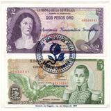 2 Pesos 1977 Y 5 Pesos 1978 Resellados 7 Aniversario A N G
