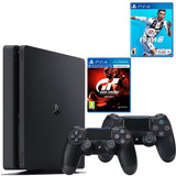 Playstation 4 Slim+ Fifa 19+ Gran Turismo Sport + 2 Controls