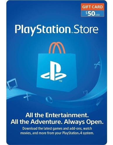 Tarjeta Psn 50 Usd Playstation Gift Card Ps4 Ps3 Disponible