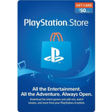 Tarjeta Psn 50 Usd Playstation Gift Card Ps4 Ps3 Disponible