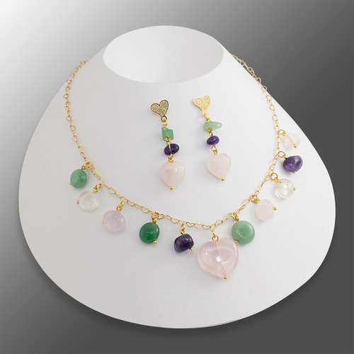 c9cb7e1759ae Collar Aretes Mujer Cuarzos Cadena Corazón Oro Golfi Joyas