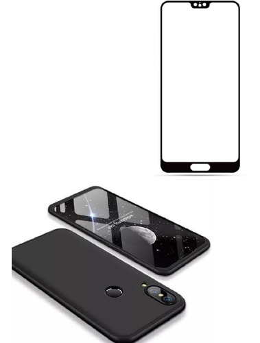 Estuche Protector 360 Huawei P20 Lite Negro + Vidrio Curvo