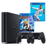 Playstation 4 Slim + Fifa 19 + Ratchet And Clank + 2 Control