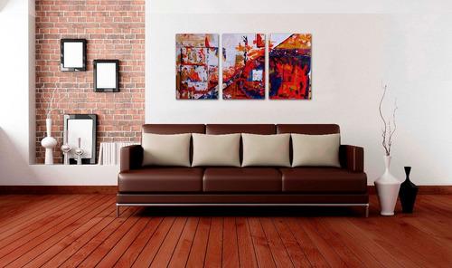 Cuadros decorativos tripticos abstractos modernos for Cuadros decorativos baratos precio