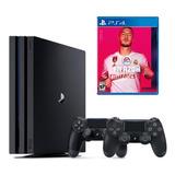 Playstation 4 Pro 4k 1tb + 2 Controles + Fifa 20