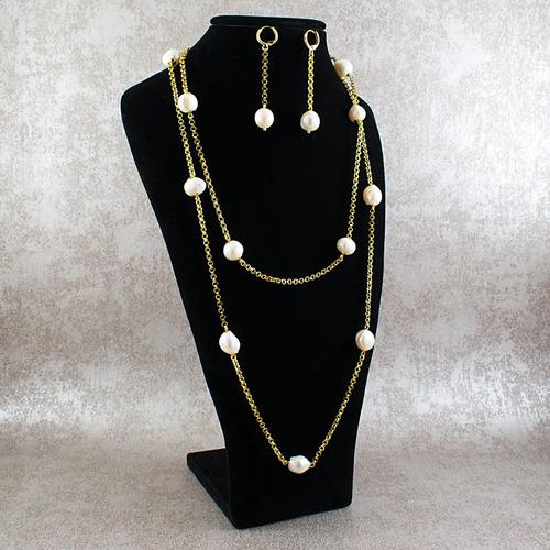 21570dbba3bf Collar Aretes Mujer Perlas Cultivadas Cadena Acero Color Oro