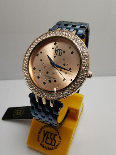 4ea973b39aee Reloj Yess S15166s Azul Oro Rosa Mujer Original