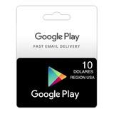 Tarjeta Google Play Store 10 Usd Gift Card Entrega Inmediata