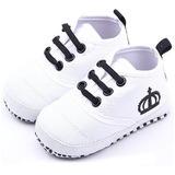 Zapatos Bebe Corona Antideslizante Niño Niña Blanco
