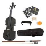 Mendini 4/4 Mv-black Violin De Madera Maciza Con Estuche Rig