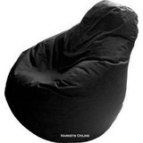 Puff Pera  En Lona Impermeable -  Talla M -color Negro