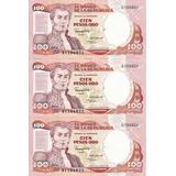 Colombia Trío Consecutivo 100 Pesos Oro 12 Octubre 1986