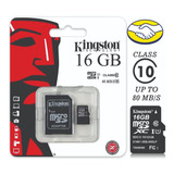 Memoria Micro Sd Kingston 16 Gb Clase 10 Nuevo