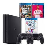 Playstation 4 + 2 Controles +fifa 20 + Gta V + Just Dance 19