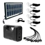 Kit Panel Solar+4 Bombillos+batería+linterna Autos Cargador