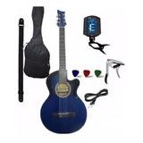Guitarra Electroacustica Afinador Forro Capo Correa Puas