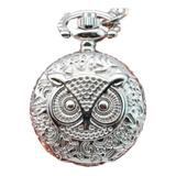 Reloj De Bolsillo Búho Redondo Pequeño Plateado Vintage Buho