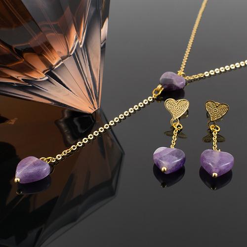 a196bc8240d5 Collar Mujer Aretes Cadena Oro Gf Corazones Piedras Amatista