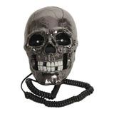 Teléfono Fijo Cráneo Negro Calavera Con Ojos Led Alámbrico