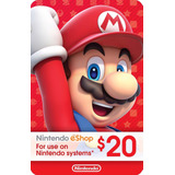 Tarjeta Nintendo Eshop Card Prepago Wii U 3ds Switch Us$20