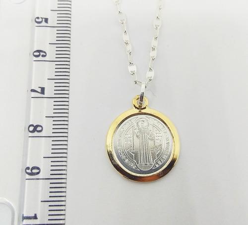 017089d7303 Medalla San Benito Plata 925 Oro + Cadena Plata Ley 925