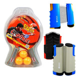 Kit Malla Retractil + Raqueta De Ping Pong + 3 Bolas