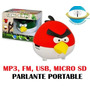Parlante Portable Angry Birds, Mp3, Fm, Usb, Micro Sd