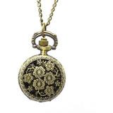 Reloj De Bolsillo Flores Pequeño Vintage Envejecido