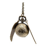 Reloj De Bolsillo Snitch Harry Potter Collar Quidditch Larga