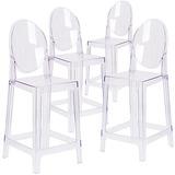 Silla Taburete Con Respaldo Ovalado Ghost Chair X 4