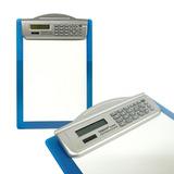 Tabla Calculadora En Plastico Con Clip Para Hojas Color Azul
