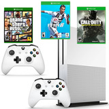 Xbox One Slim 1tb 2 Controles, Fifa 19, Gta V Y Call Of Duty
