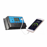 Regulador Pwm Controlador Solar 30 A Digital Usb 12-24vdc 1